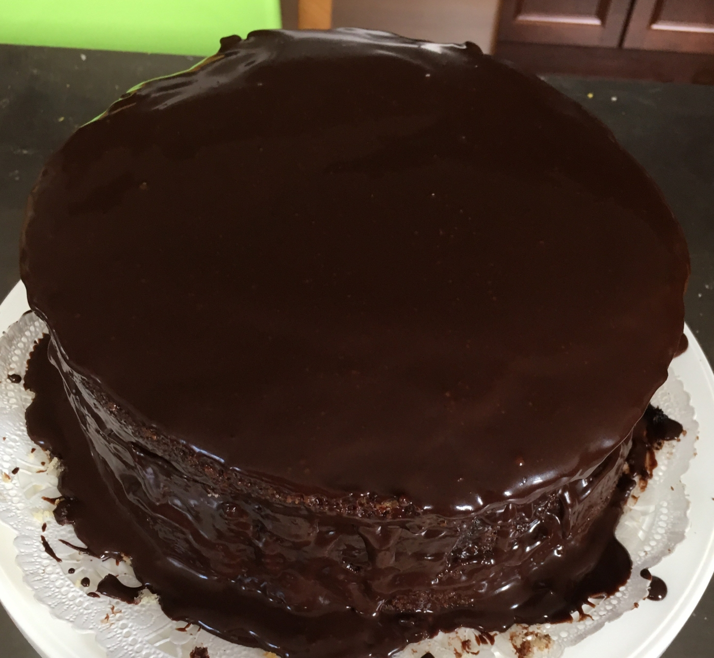 Chocolate ganache covered chocolate & vanilla layer cake.