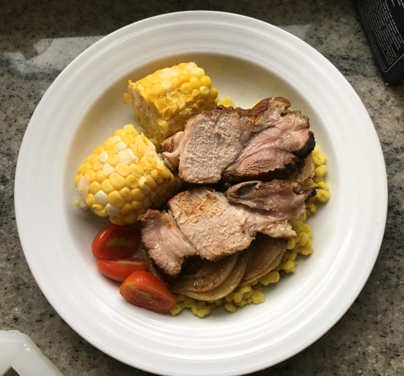 BBQ slow cooked pork shoulder dinner