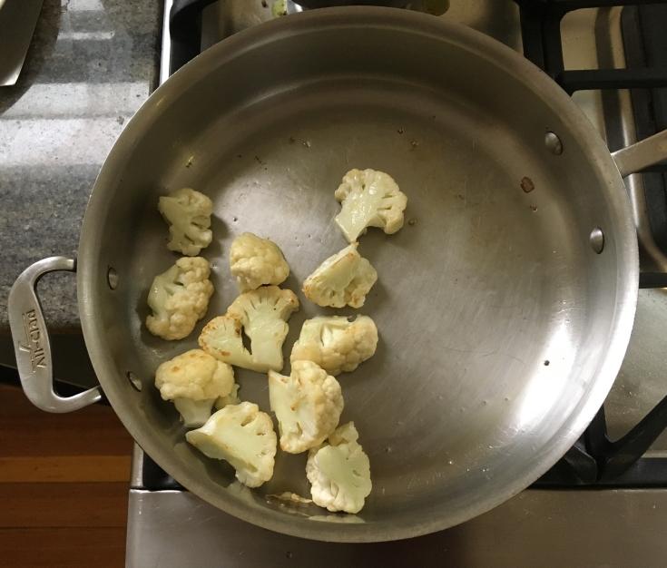 Sautéing the cauliflower