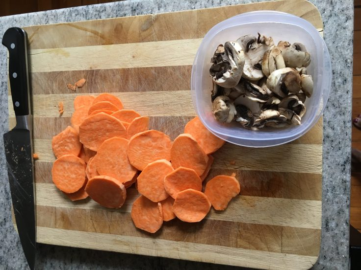 Chopped sweet potato & mushrooms