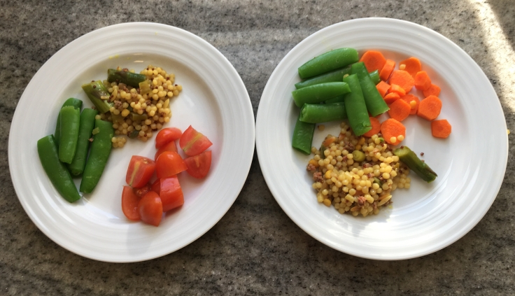 Kiddie versions of the sausage, cous cous, asparagus & snap pea dish.