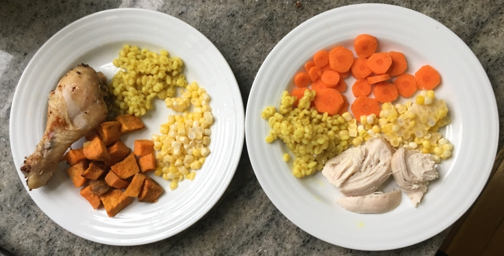 Kids plates Honey mustard roast chicken, served with barley, corn & sweet potato or carrots on the side