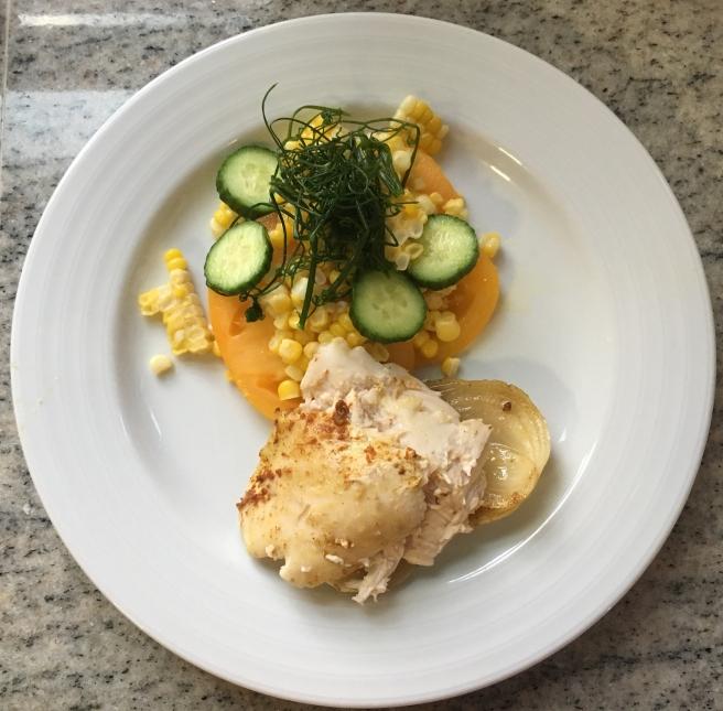 Tomato, cucumber, pea tendril & corn salad with BBQ chicken