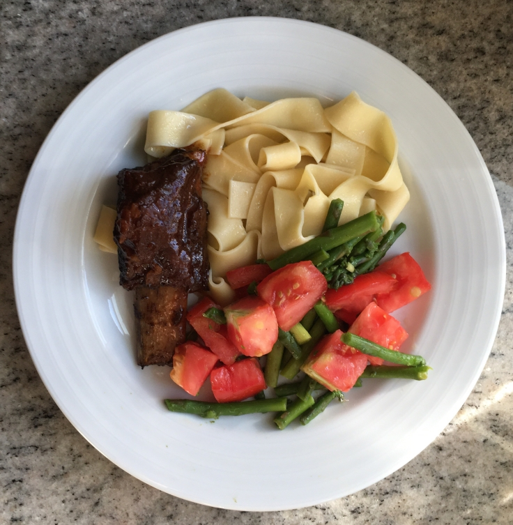 Short ribs, pappardelle, warm tomato & asparagus salad