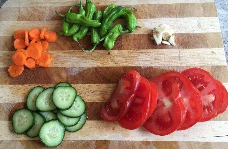 Chopping prep for shrimp, pepper & cous cous tomato salad