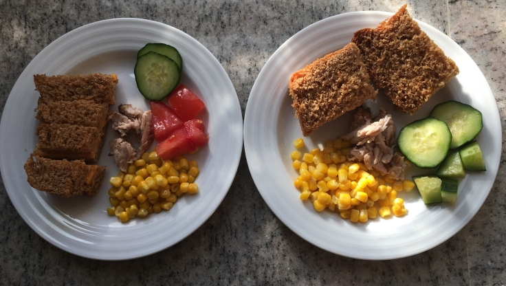 Kids plates for the Slow cooker BBQ ribs & corn salad
