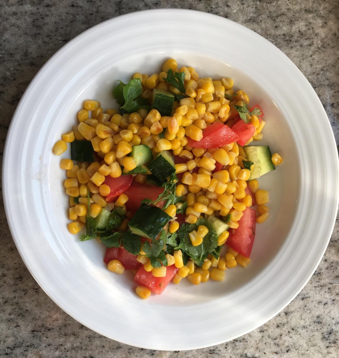 Corn salad with tomato, zucchini & cilantro