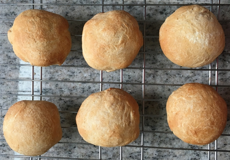 Rolls... 1/2 white, 1/2 whole wheat flour... yummy and easy to keep in the freezer and bake when you want to.
