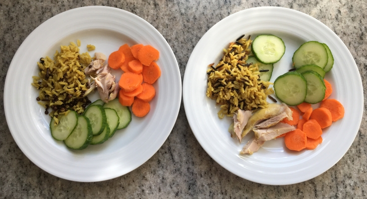 Kids' plates basmati & wild rice with lentils + curry chicken