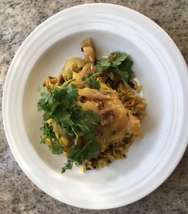 Slow cooker curry chicken over basmati & wild rice with lentils.